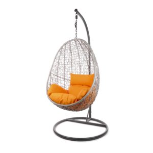 Capdepera Hängesessel graues Gestell mit orangenfarbenem Kissen