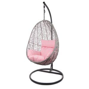 Capdepera Hängesessel graues Gestell mit rosanem Kissen