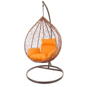 Manacor Hängesessel braunes Gestell mit orangenfarbenem Kissen