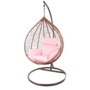 Gestell MANACOR braun mit rosafarbigem Kissen