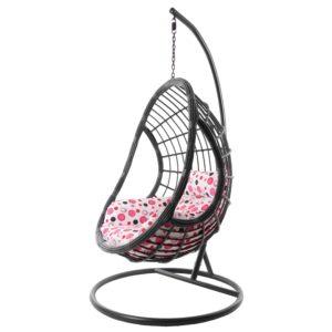 Hängesessel PALMANOVA grau/rosa gepunktet